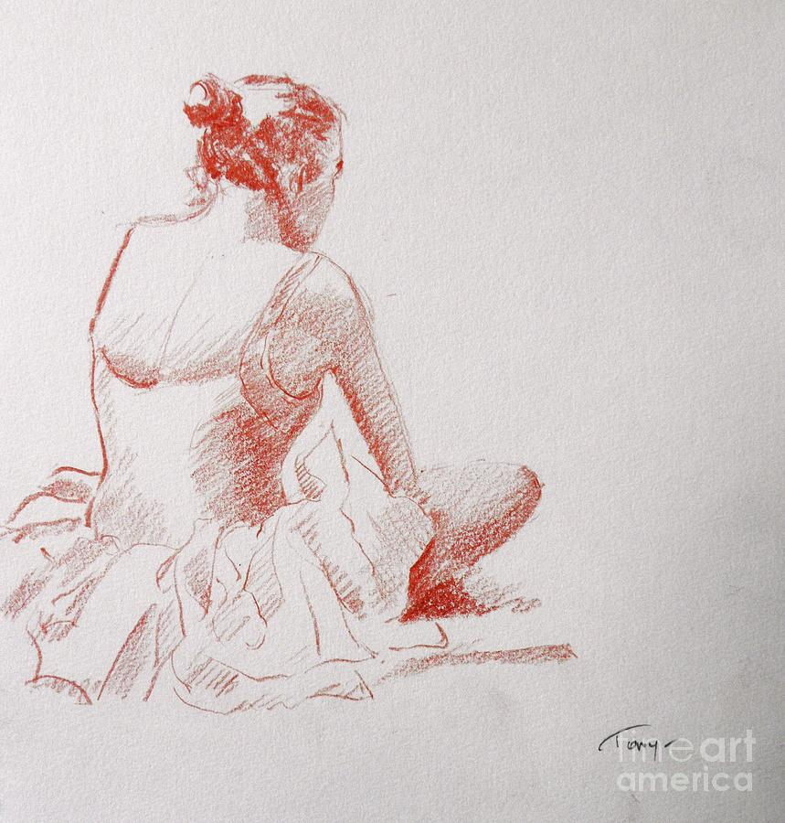 859x900 Dancer Resting Drawing By Tony Calleja