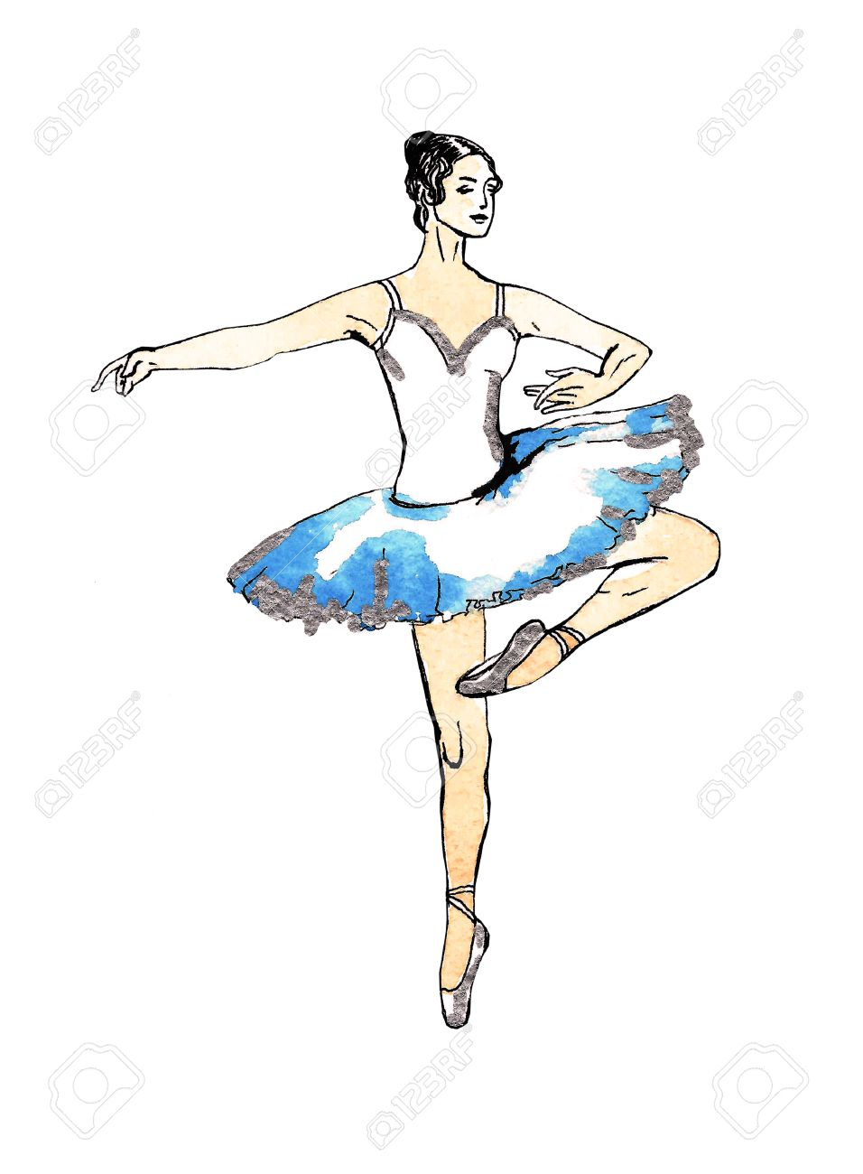 956x1300 Ballet Dancer Doing Turns, Black And Silver Drawing On A Blue