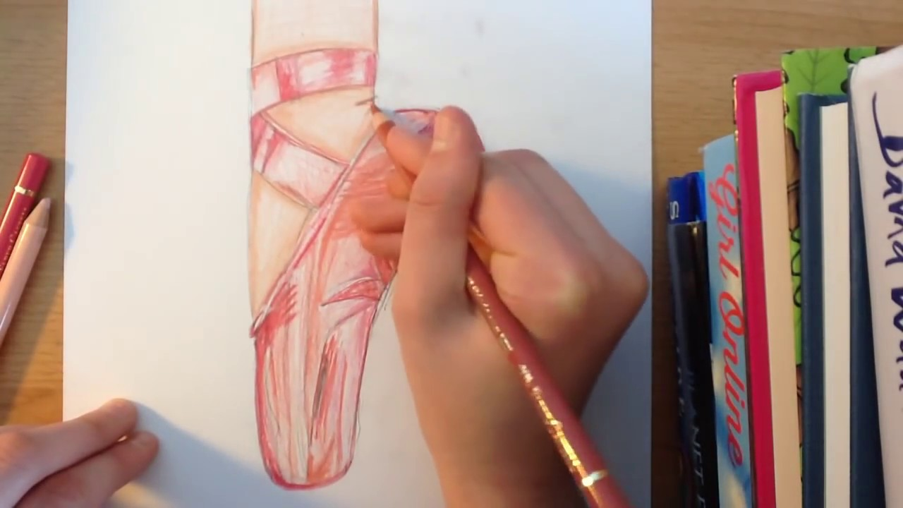 1280x720 Ballet Shoe (Pointe Shoe) Drawing Tutorial Artytigers