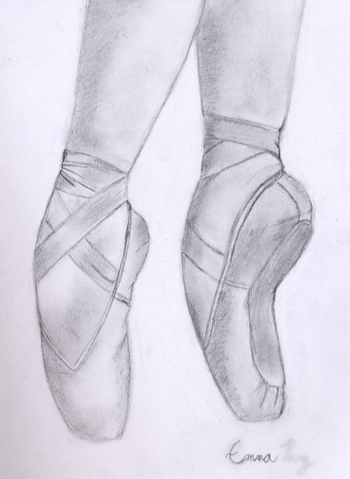 500x684 Beautiful Pointe Shoe Sketch ~~ I Wanna Draw Something Like This