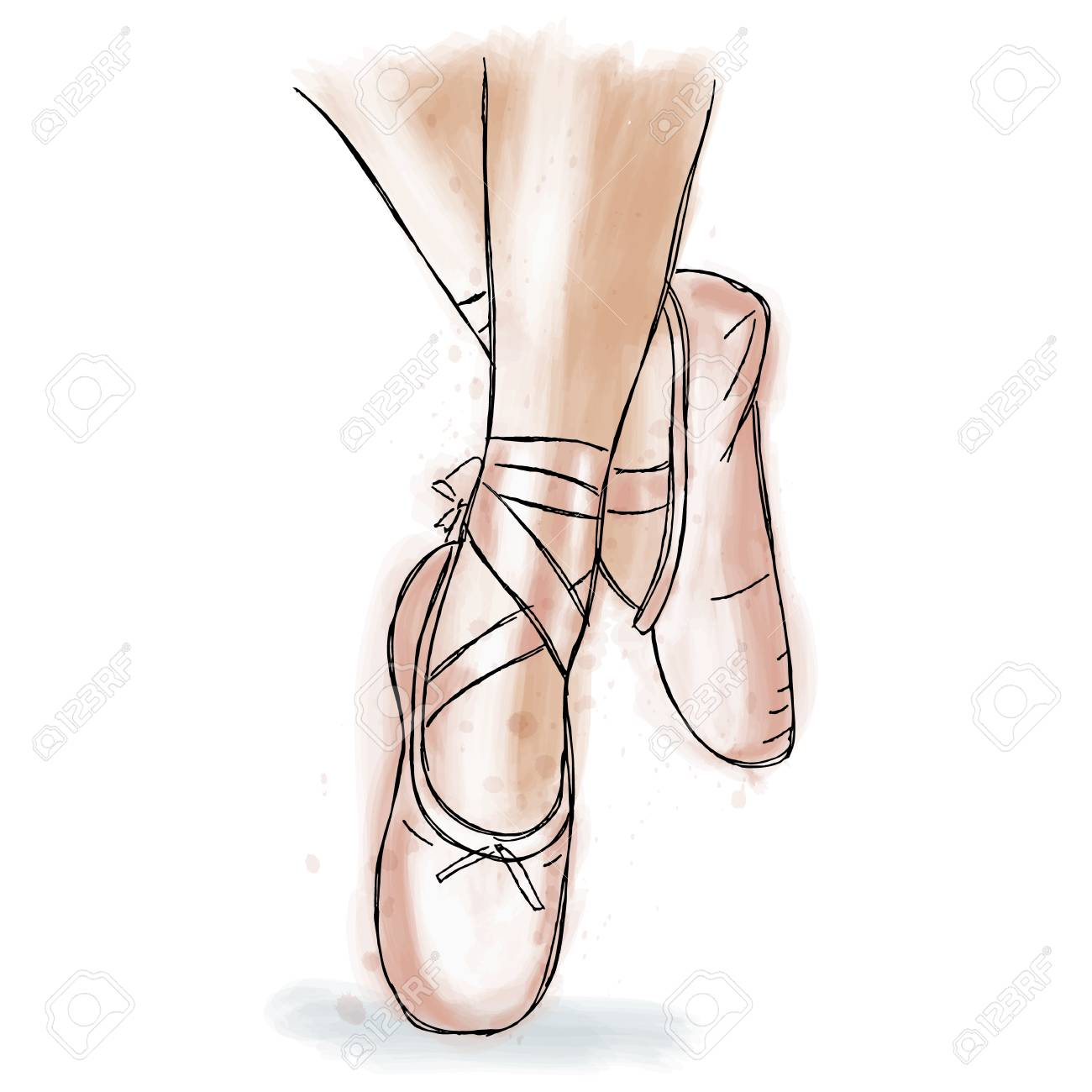 1300x1300 Pink Ballerina Shoes. Ballet Pointe Shoes With Ribbon. Hand Drawn