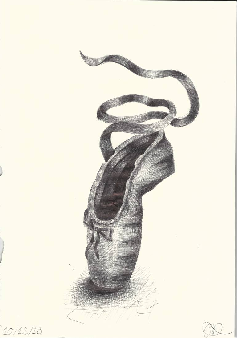 770x1098 Saatchi Art Biro Ballet Pointe Shoe. Drawing By Jack Dempsey