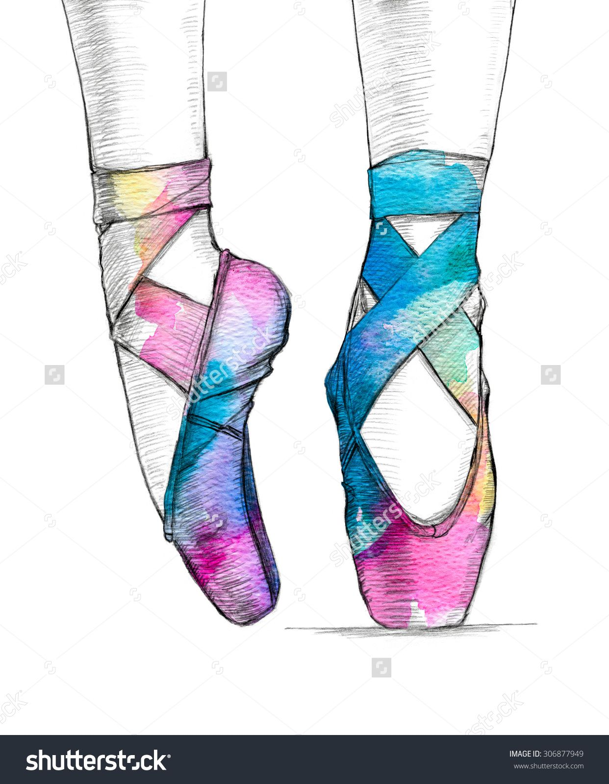 1242x1600 Stock Photo Hand Drawn Illustration Of Ballerina S Feet In Dancing