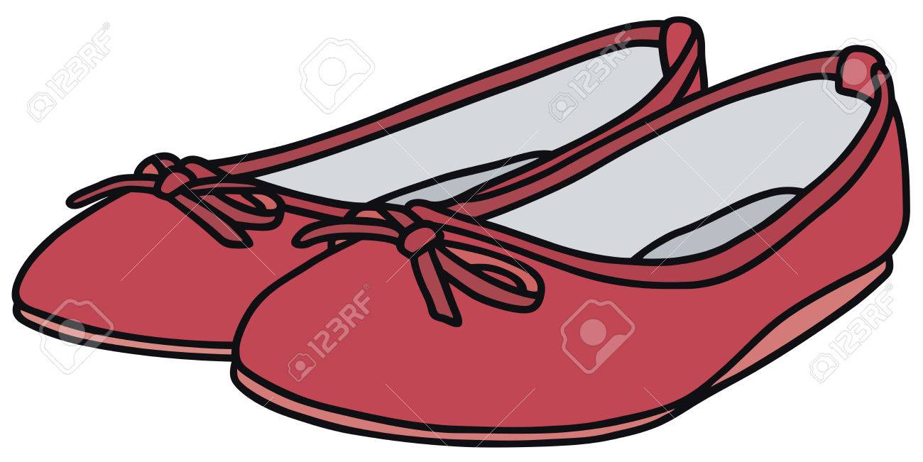1300x651 Hand Drawing Of A Pink Ballet Flats Royalty Free Cliparts, Vectors