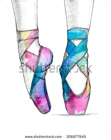 373x470 Hand Drawn Illustration Of Ballerina's Feet In Dancing Ballet