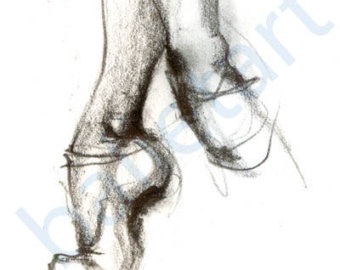 340x270 Ballet On Pointe Dance Art Print Pointe Shoe Pencil Drawing