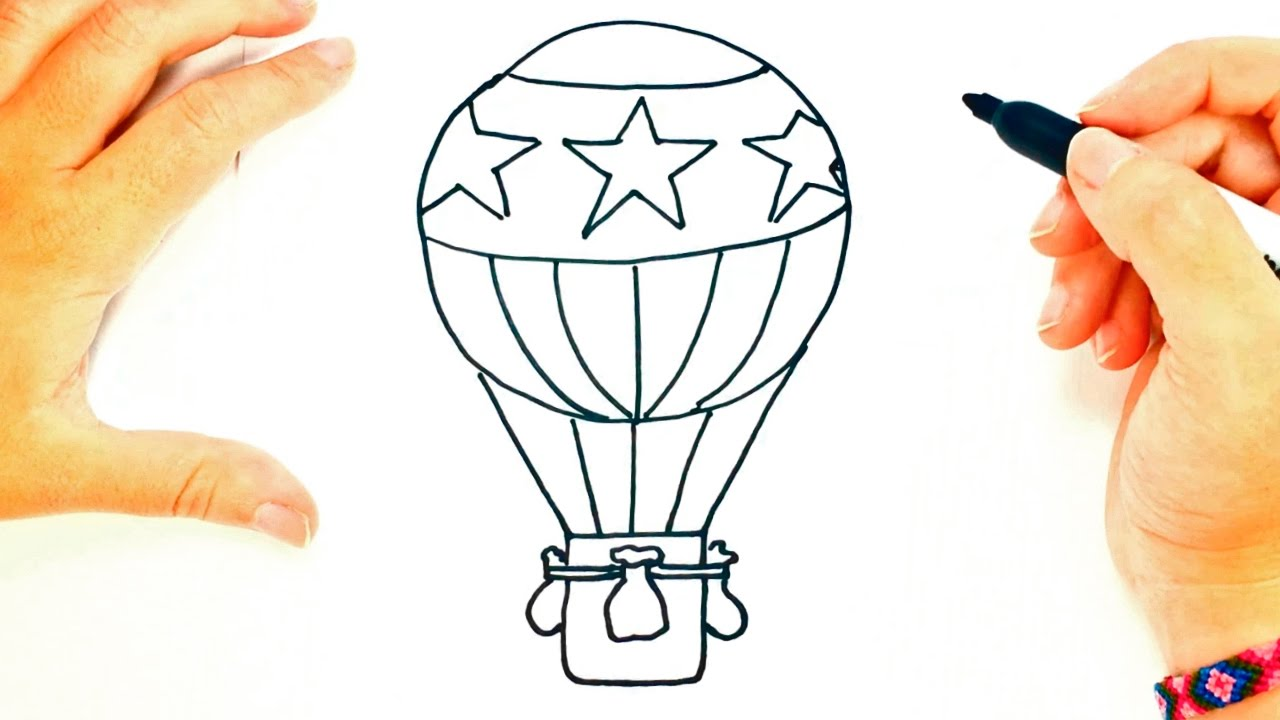 1280x720 How To Draw A Hot Air Balloon Hot Air Balloon Easy Draw Tutorial