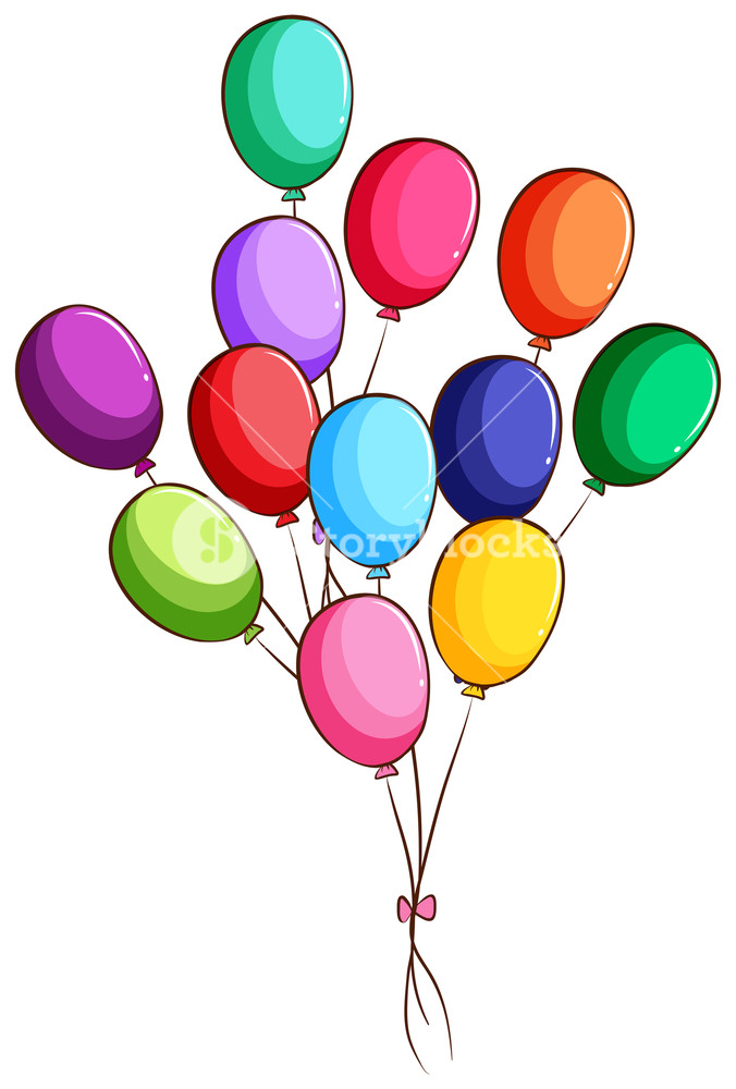676x1000 Illustration Of A Simple Drawing Of A Group Of Balloons On A White