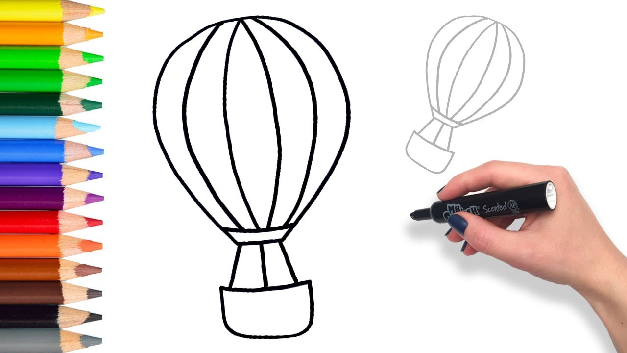 1280x720 Learn How To Draw A Hot Air Balloon Teach Drawing For Kids