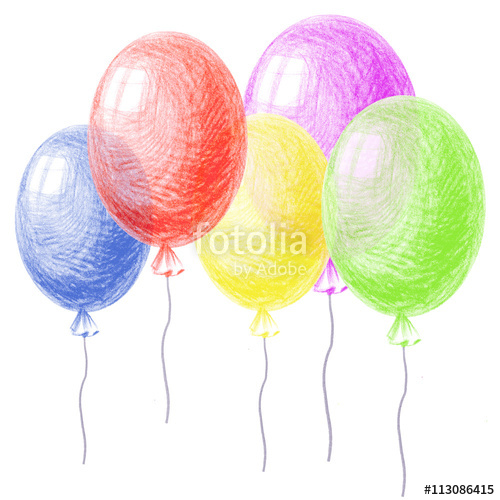 500x500 Bright Colorful Balloons, Drawing By Crayon. Hatching Colored