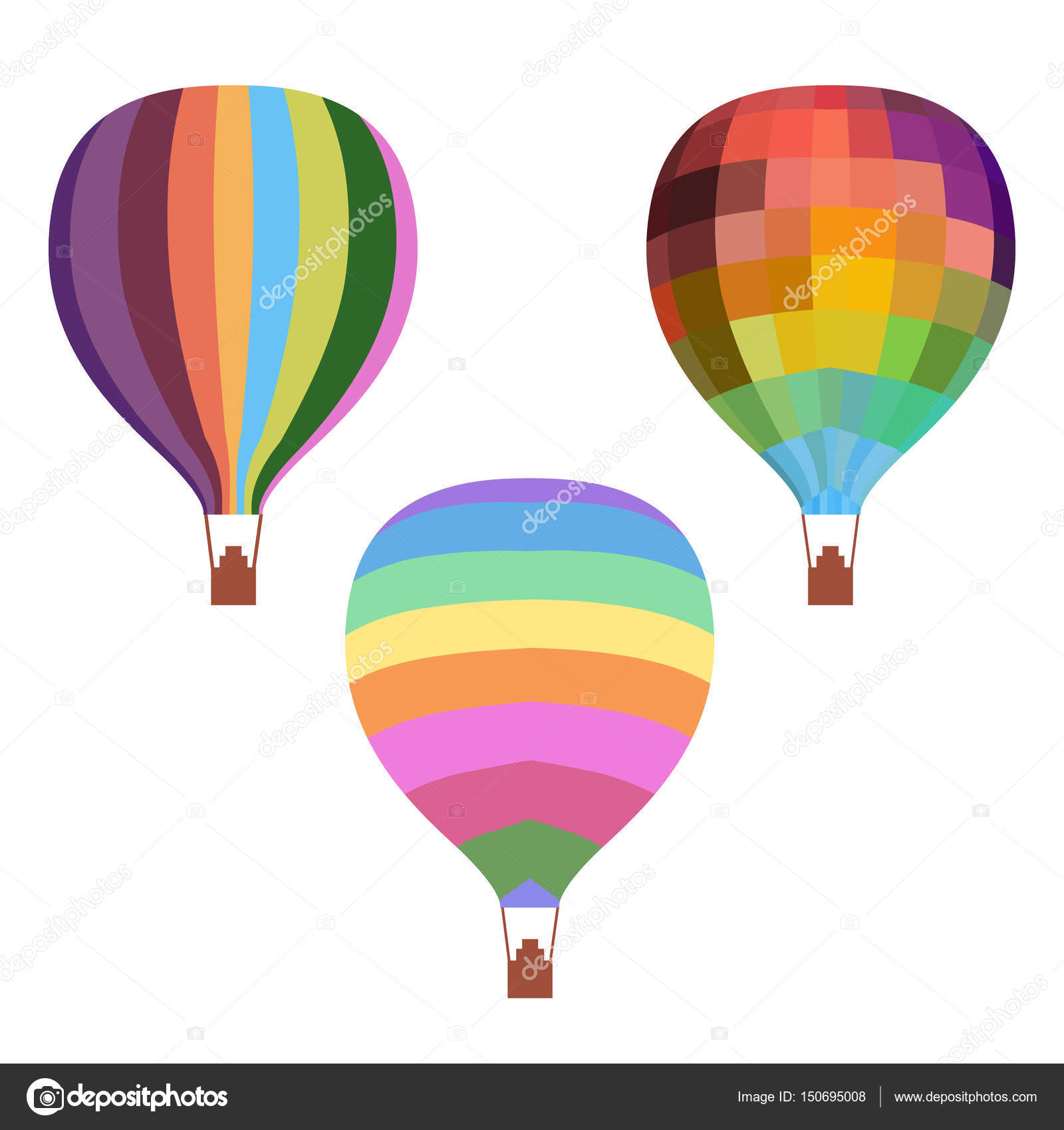 1600x1700 Colorful Drawing Hot Air Balloons Set Stock Vector Mogil