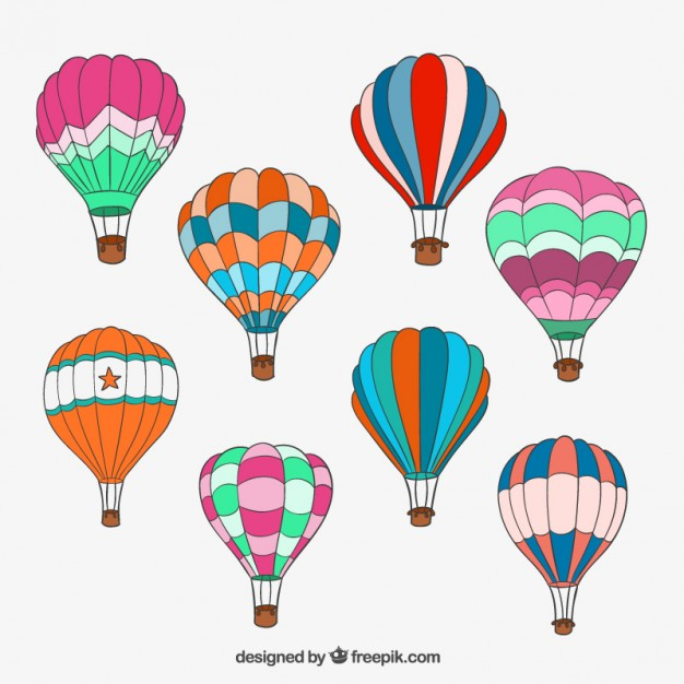 626x626 Hand Drawn Hot Air Balloons Vector Free Download