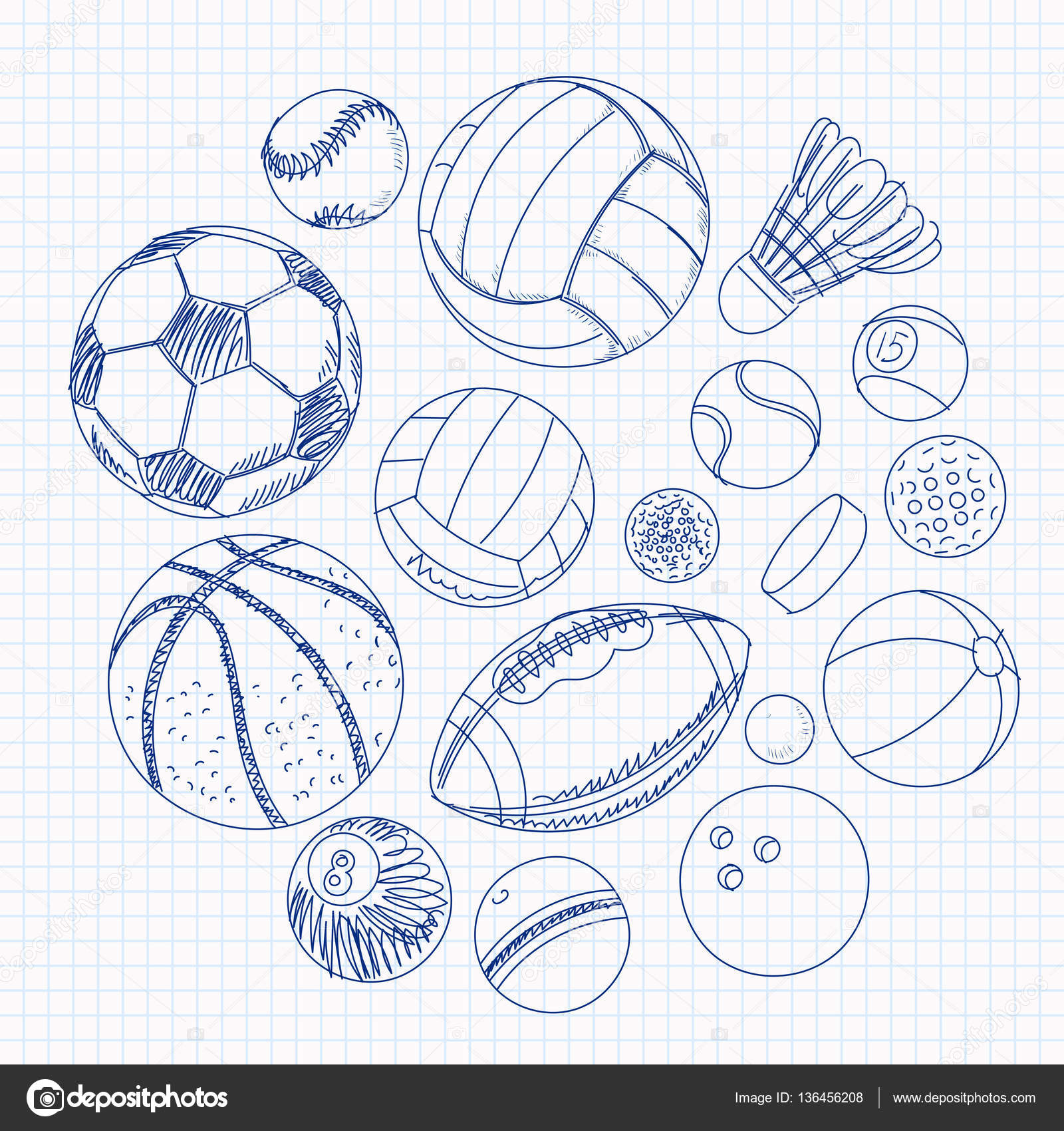 1600x1700 Freehand Drawing Sport Balls On A Sheet Of Exercise Book Stock