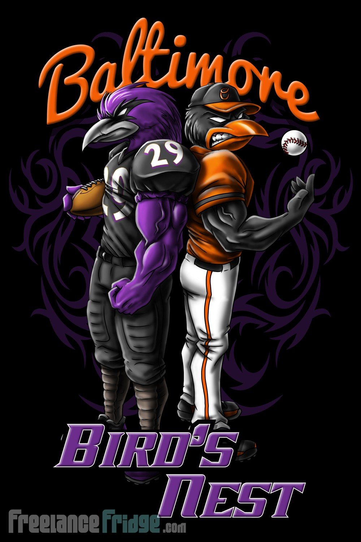1000x1500 Baltimore Ravens And Orioles T Shirt Design Freelance Fridge