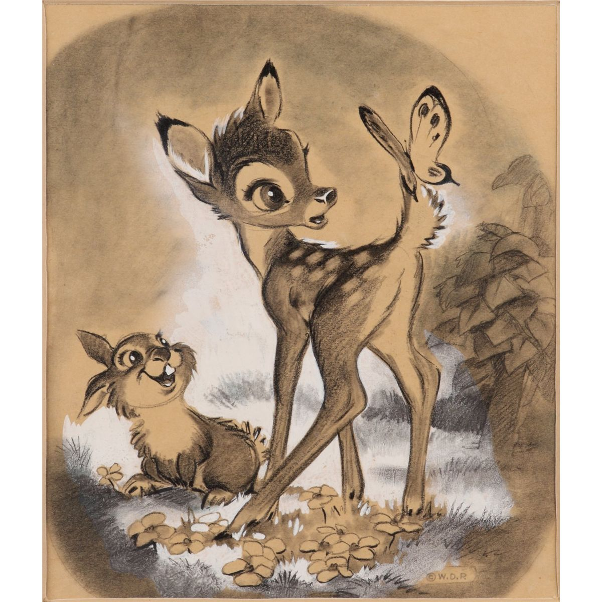 1200x1200 Bambi Amp Thumper Charcoal Drawing For Disney Publicity Card