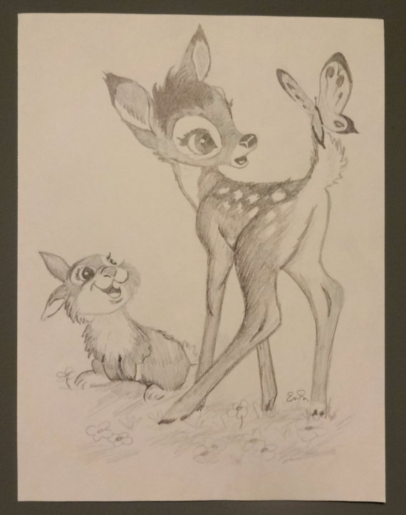570x724 Bambi And Thumper From Disney's Bambi Graphite Drawing Disney S