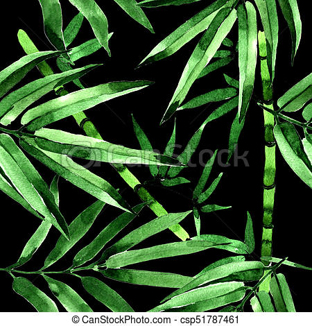 450x470 Tropical Leaves Bamboo Tree Pattern In A Watercolor Style