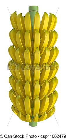 225x470 Bunch Of Bananas On A White Background Stock Illustrations
