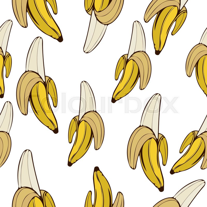 800x800 Bananas Seamless Pattern, Fruit Background. Drawing Fruit On