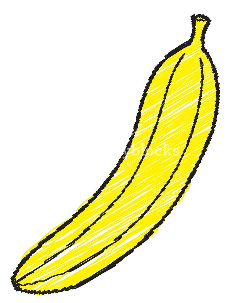 763x1000 Banana Drawing Royalty Free Stock Image