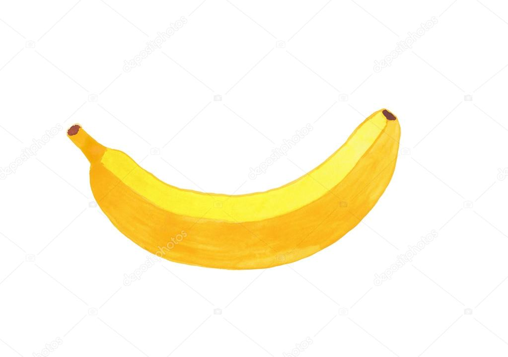 1023x719 Watercolor Banana Drawing Isolated On White Background Stock