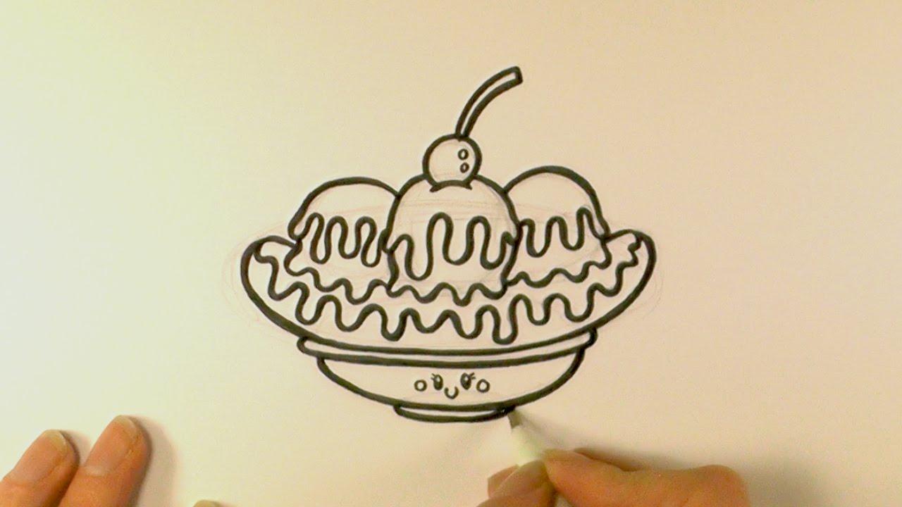 1280x720 How To Draw A Cartoon Banana Split Ice Cream Sundae