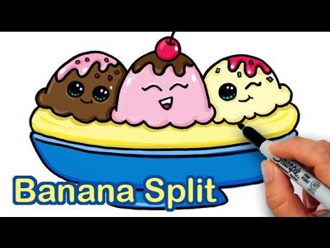 480x360 How To Draw A Yummy, Cute Banana Split Ice Cream Sundae