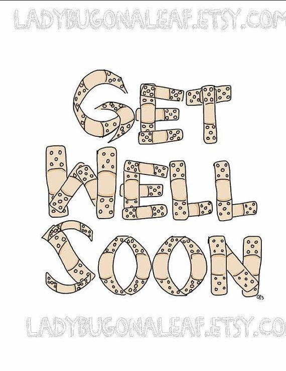 570x738 Get Well Soon Bandaid Drawing Illustration Card, By Ladybugonaleaf