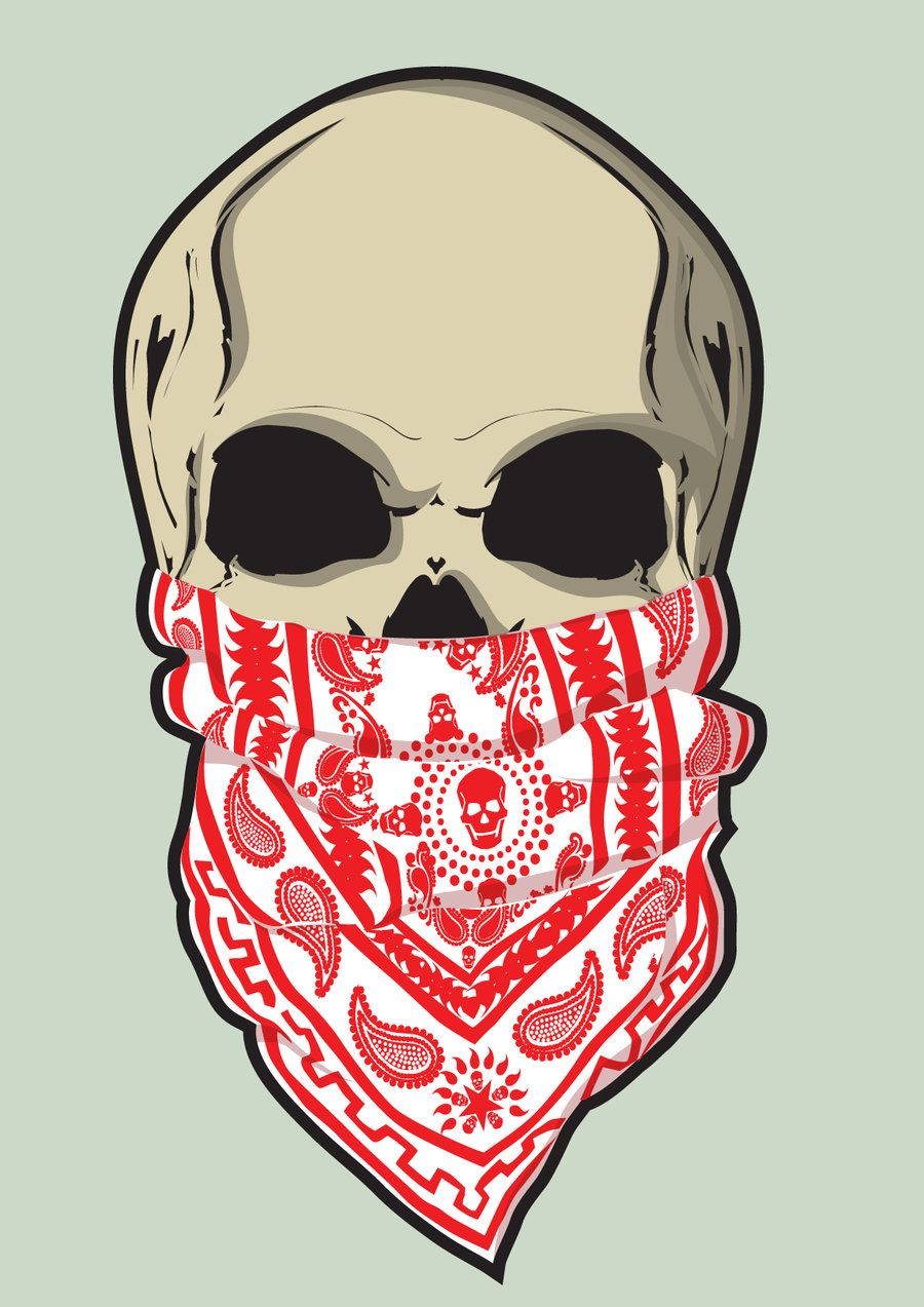 900x1273 Skull And Bandana By On @ Day