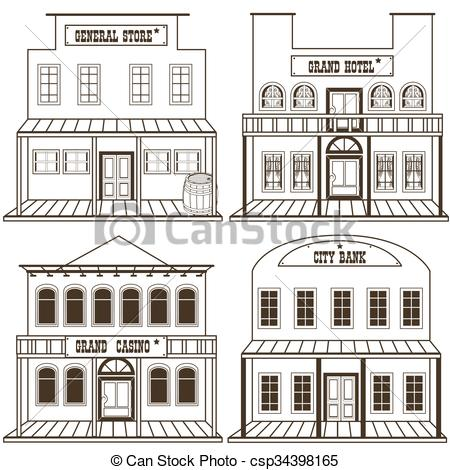 450x470 Old West Buildings Outlined 2. Collection Of An Old West Clip