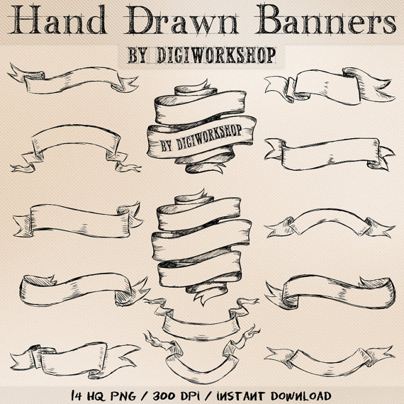 570x570 Hand Drawn Banners Clipart