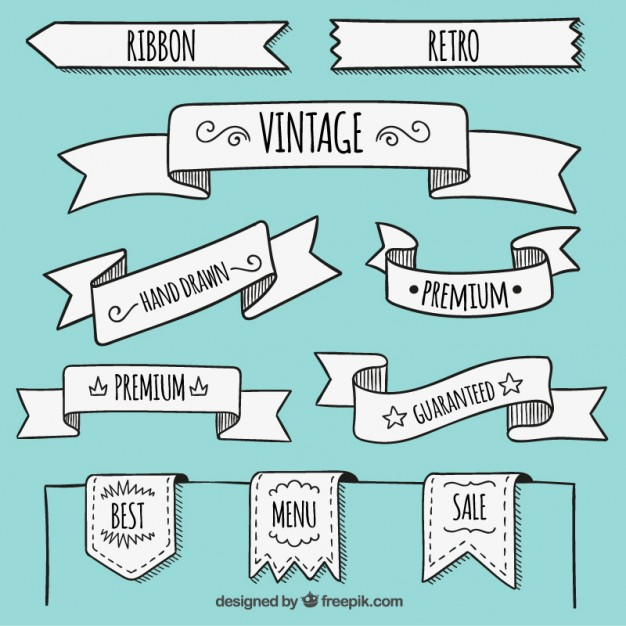 626x626 Hand Drawn Banners In Retro Style Vector Free Download