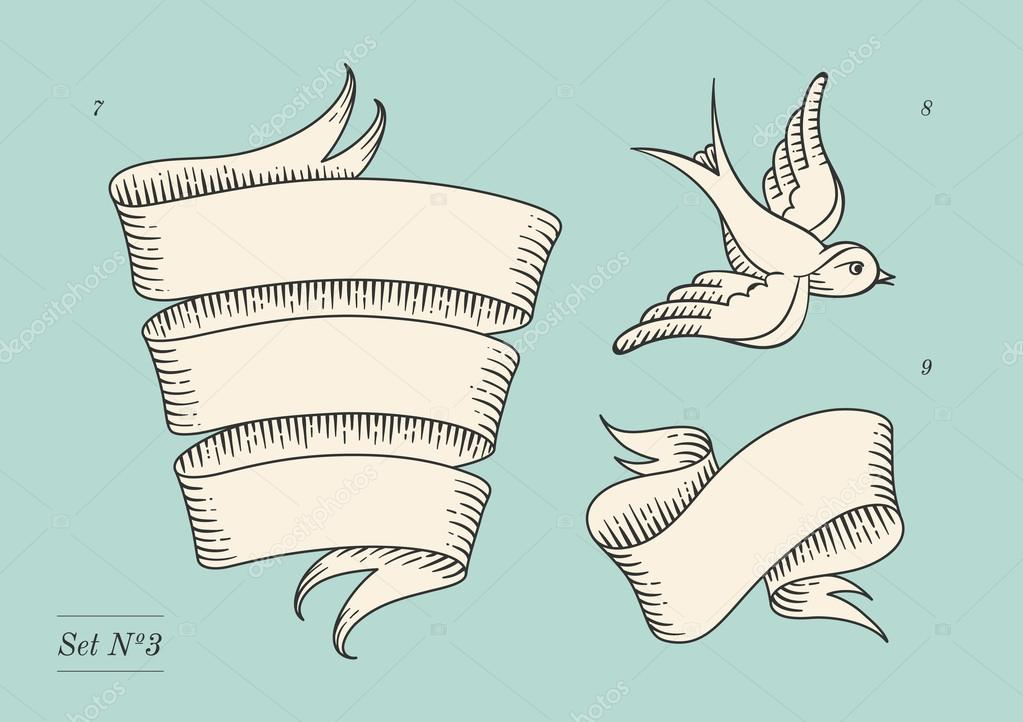 1023x722 Set Of Old Vintage Ribbon Banners And Drawing In Engraving Style