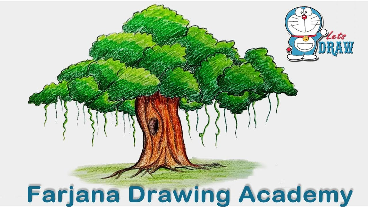 1280x720 How To Draw Banyan Tree Step By Step (Very Easy)