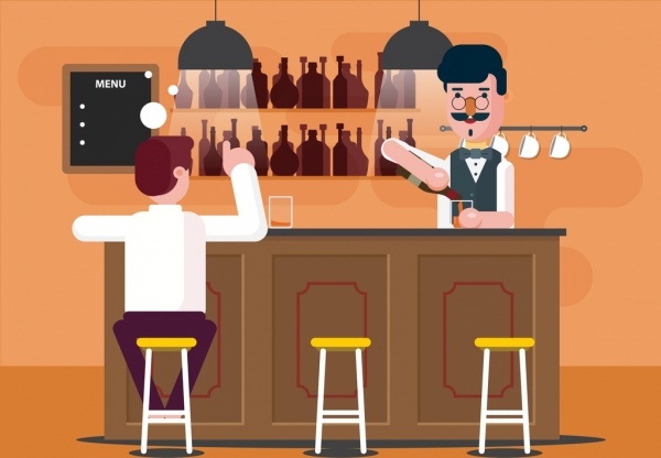 600x416 Bar Drawing Bartender Guest Icons Colored Cartoon Free Vector