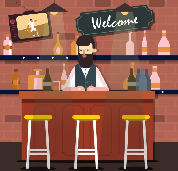 600x578 Bar Drawing Male Bartender Empty Seat Icons Free Vector In Adobe