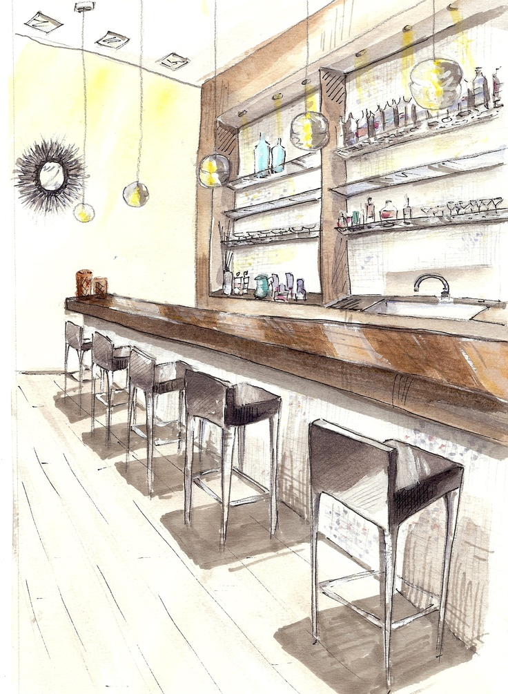 736x1005 Image Result For Interior Perspective Bar Perspective Drawings