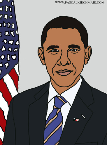 367x500 Barack Obama By Pascal Kirchmair Famous People Cartoon Toonpool