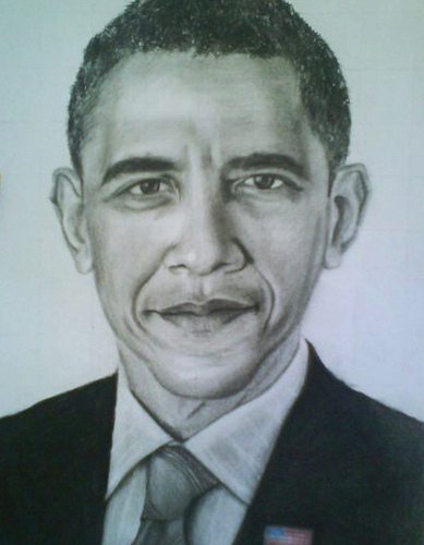 389x500 Charcoal Pencil Drawing Of Barack Obama