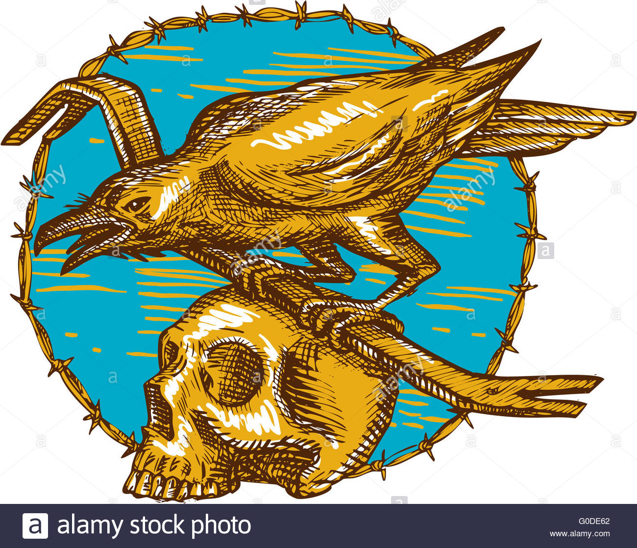 1300x1119 Crow Perching Crowbar Skull Barbed Wire Drawing Stock Photo