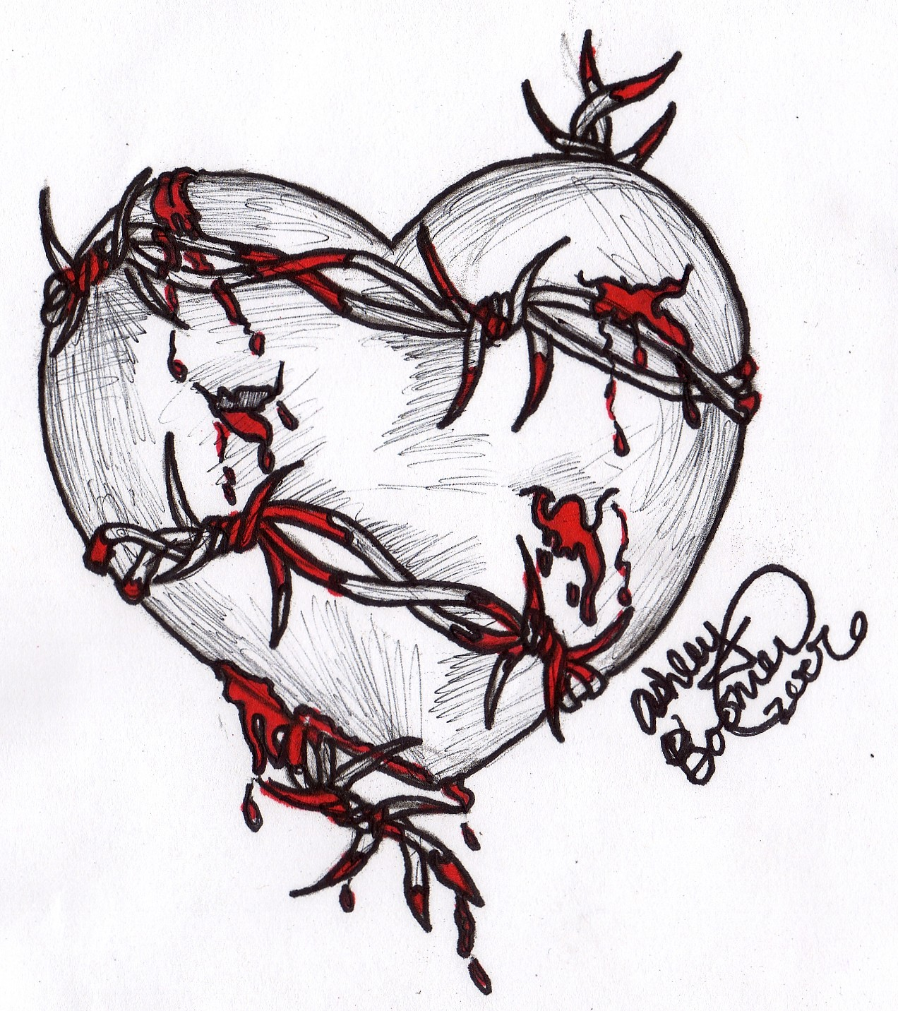 1272x1432 Heart Sketches Barbed Wire Heart By Boomboom34 Traditional Art