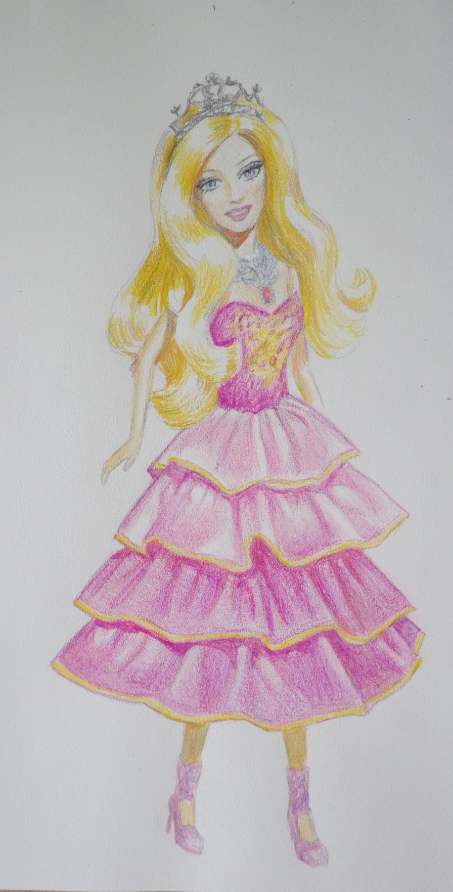 896x1764 How To Draw A Barbie Doll In Pink Dress.