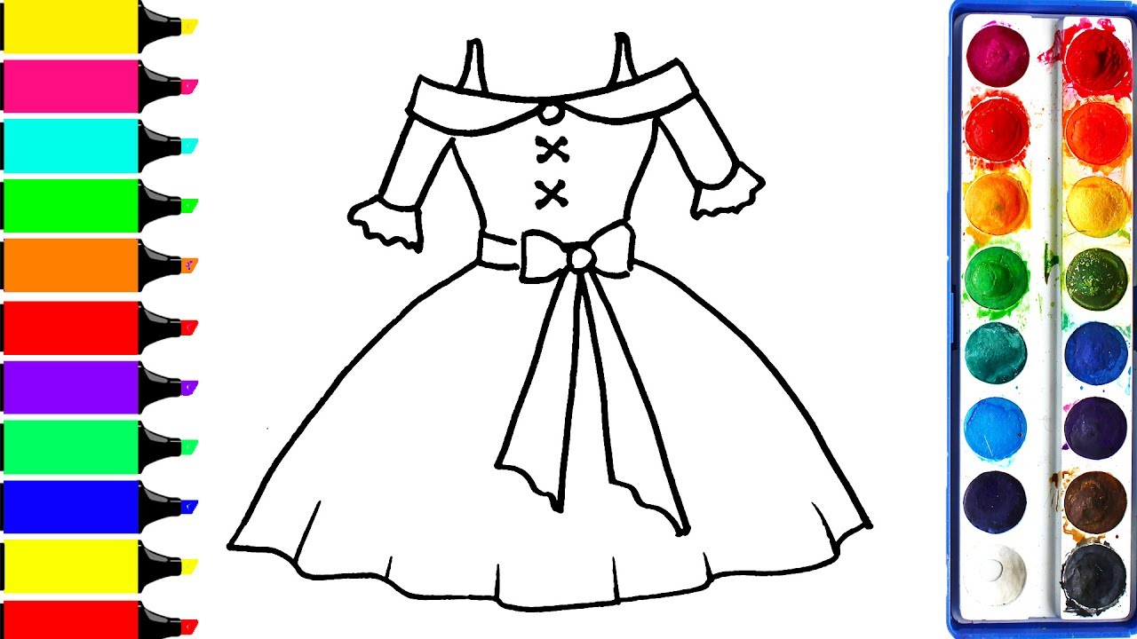 1280x720 Barbie Dress Coloring Page Drawing Pretty Dress Learn Colors