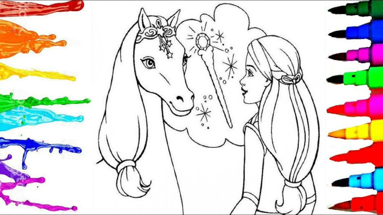 1280x720 Colouring Sheets Barbie And Flying Horse Colouring Drawing Pages L
