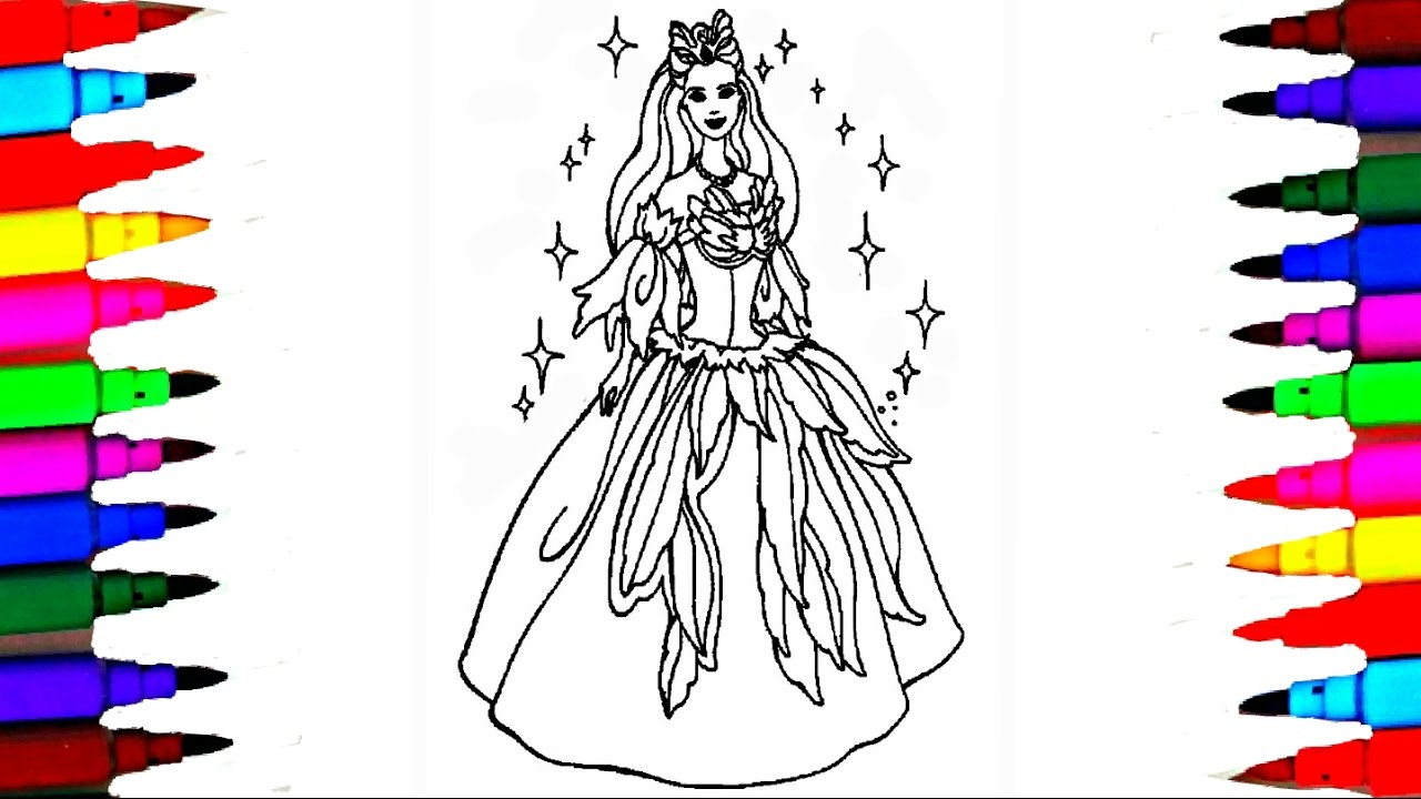1280x720 Girls Barbie Princess Coloring Pages L Coloring Barbie And Ken