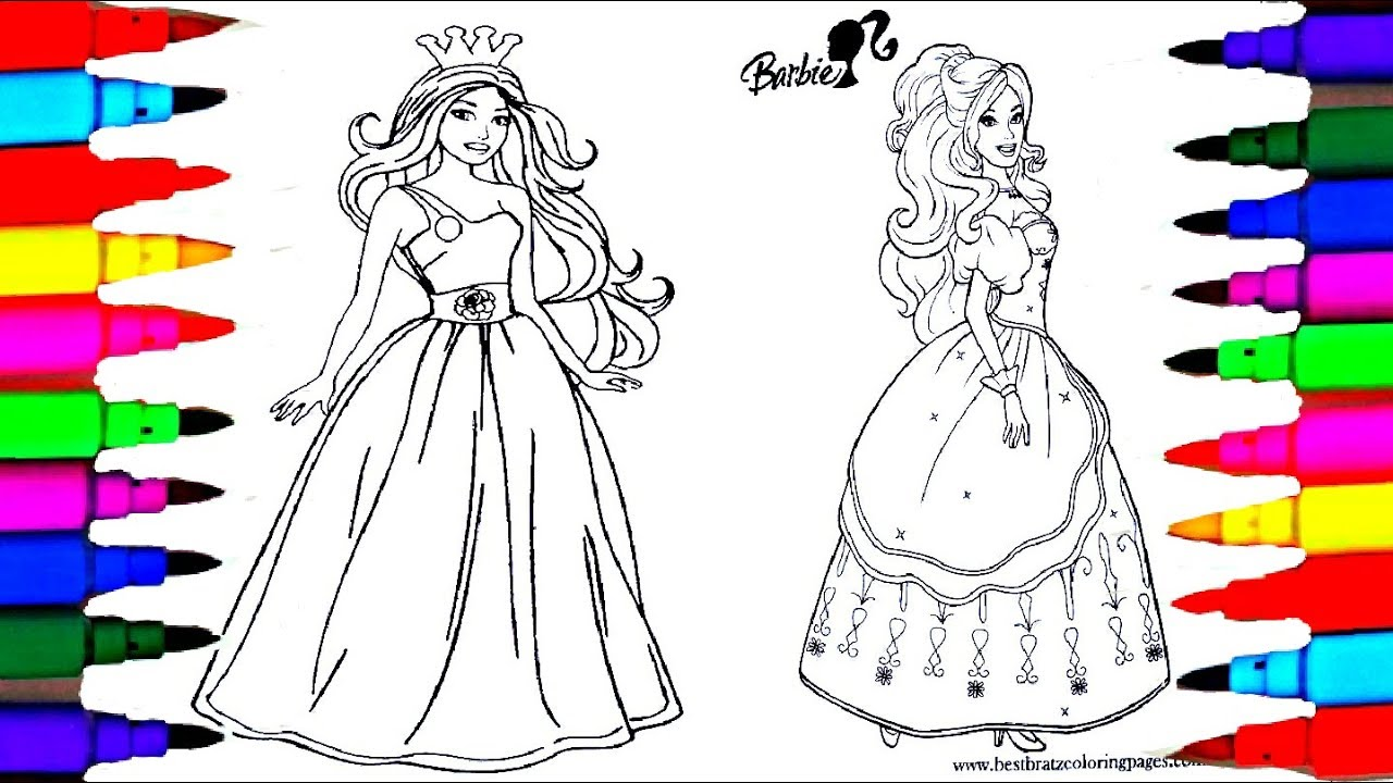 1280x720 Learn Colors By Drawing Pages Coloring Barbie Princess Coloring