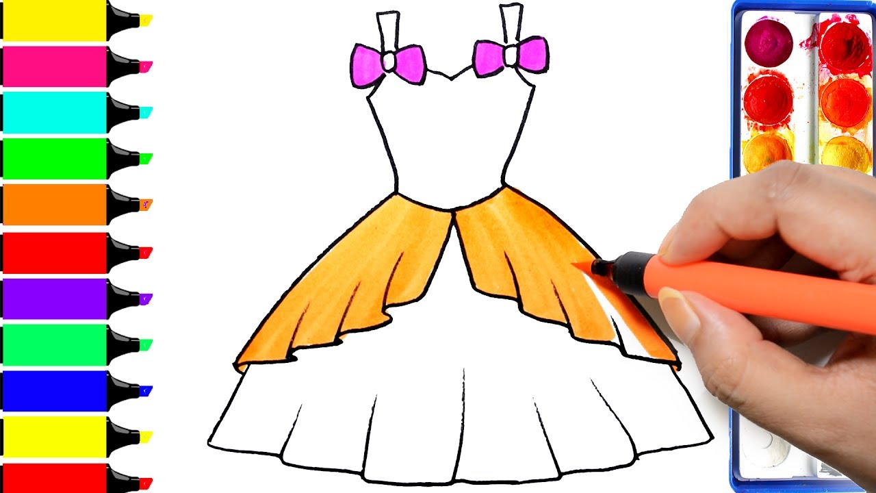 1280x720 How To Draw Barbie Dress Coloring Princess Dress Learning