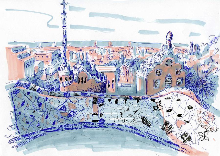 900x637 Barcelona City Sketch Drawing By Anna Potanina