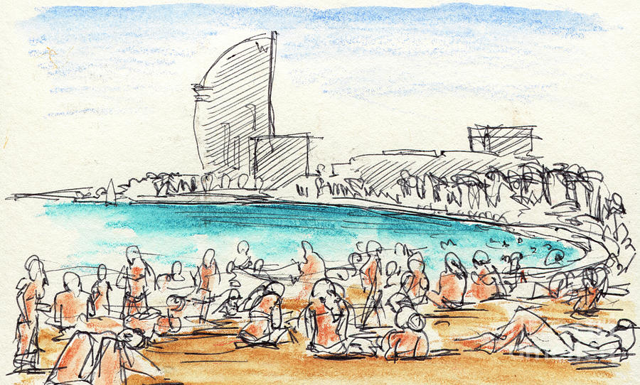 900x542 People Sunbathing At Barcelona Beach Drawing Drawing By Frank Ramspott