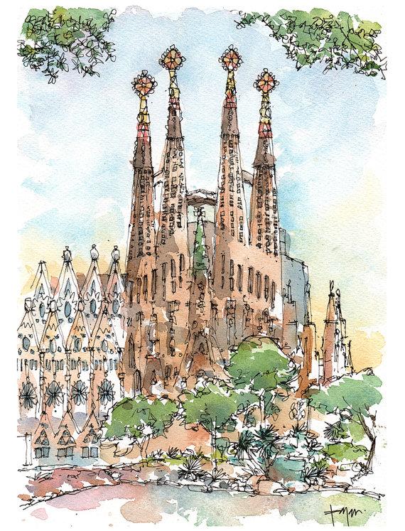 570x747 Sagrada Original Watercolor Antoni